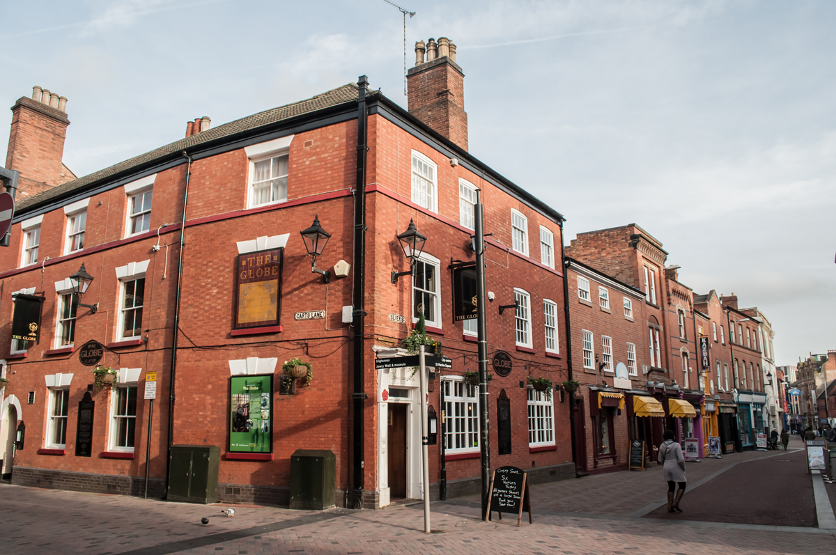 The Globe Inn, Silver Street, Leicester, in 2016.  Stockingers gathered in the Globe Inn each Saturday to sell their goods. Nathaniel Corah bought his supplies here and sold them in Birmingham.
