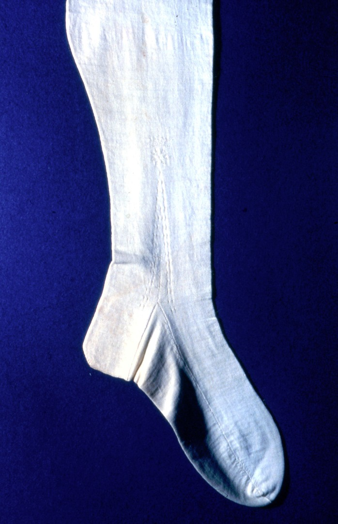 Knitted white cotton stocking