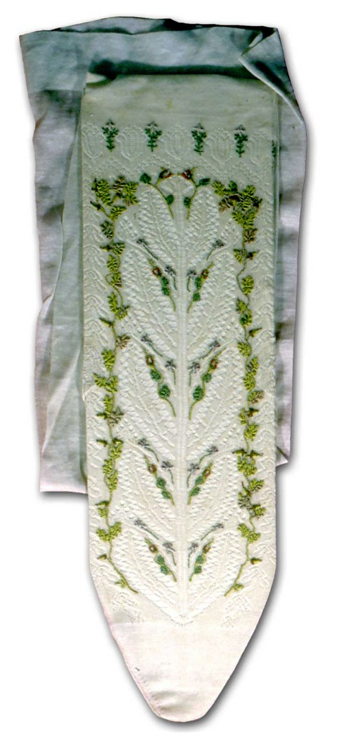 Hand-embroidered stocking.